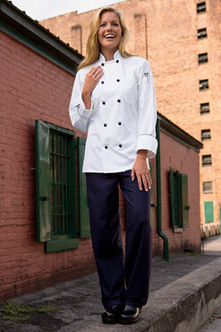 Barcelona Black Knot Buttons Chef Coat