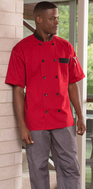 Bristol Black Trim Colored Short Sleeve Poly Cotton Chef Coat