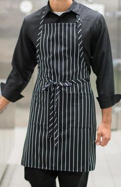 Cafe Chalk Stripe Divided Patch Pocket Butcher Bib Apron