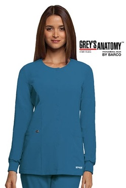 Junior Grey's Anatomy™ Snap Front 2-Pocket Round Neck Warm-Up Jacket