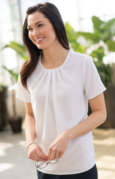 Ladies Hotel Woven Stretch Jewel Neck Blouse