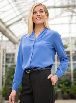 Ladies Hotel Woven Stretch V-Neck Blouse