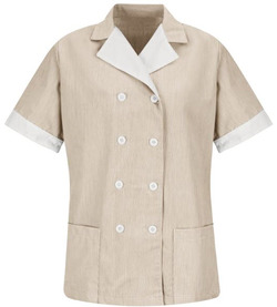 Ladies Housekeeping Double-Breasted Lapel Pincord Tunic