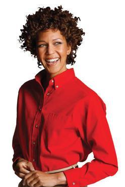 Ladies Poplin Shirt Button Down Collar