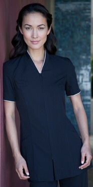 Ladies Pravia Zipper Front with Piping Spa Tunic