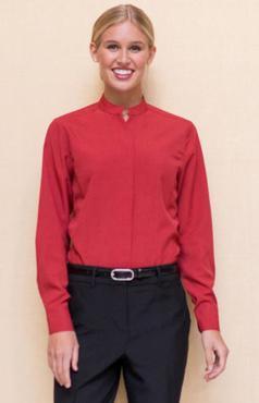 Ladies Restaurant Casino Stand-Up Mandarin Collar Shirt
