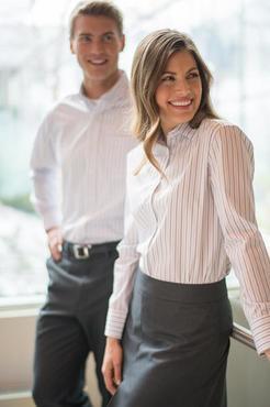 Ladies Restaurant Double Stripe Poplin Shirt