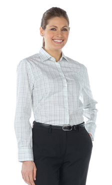 Ladies Restaurant Tattersall Poplin Blouse