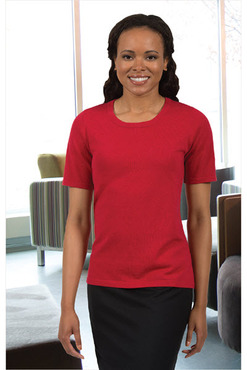 Ladies Scoop Neck Short Sleeve Sweater