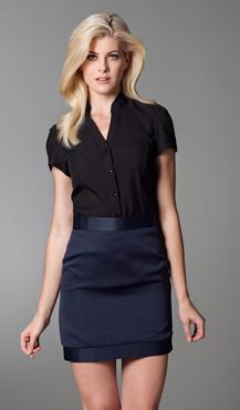 Ladies Server Banded Collar Split Neckline Short Sleeve Blouse