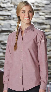 Ladies Server Colored Wrinkle Resistant Roll-Up Chambray Shirt
