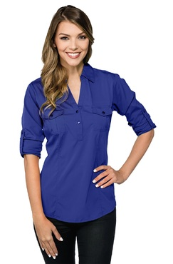 Ladies Server Fitted V-Neck Roll-Up Stretch Blouse