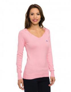Ladies Server Twisted V-Neck Long Sleeve Sweater