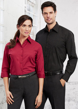 Ladies Three Quarter Sleeve Restaurant Waitstaff Pinstripe Blouse (Discontinued may NOT be returned or exchanged)