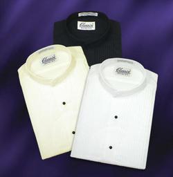 Men's Banded Collar Tuxedo Shirt