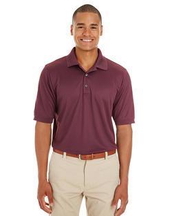 Men's Textured Athletic Mesh Polo Shirt