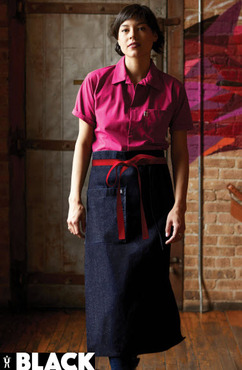 Patch Pocket with Pencil Insert and Red Ties Denim Waitstaff Aprons