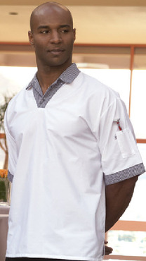 White Pullover V-Neck Cook's Shirt with Houndstooth Trim