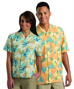 Tropical Restaurant Unisex Hibiscus Camp Shirt