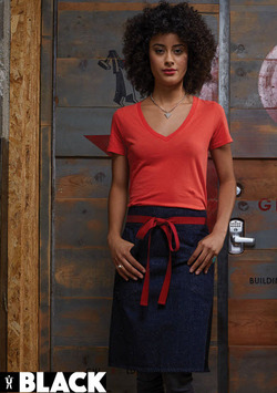 Two Blue Jean Style Pockets with Red Ties Server Waist Aprons