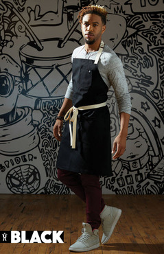 Two Hip Pockets Divided Chest Pocket with Natural Ties Cotton Server Bib Apron