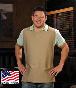 Two Pocket Squared Cobbler Apron with Rounded Neck