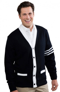 Unisex 5-Button V-Neck With Contrasting Trim Varsity Cardigan