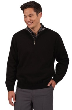 Unisex Contrasting Collar Quarter-Zip Sweater