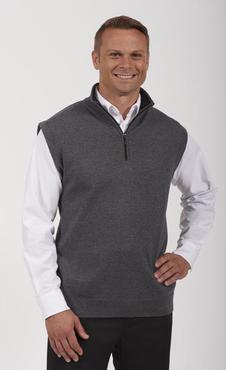 Unisex Contrasting Collar Quarter-Zip Vest