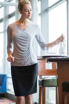 Ladies Waitress Three Quarter Sleeve Crossover Cocktail Blouse