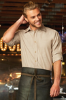 Men's Server Colored Wrinkle Resistant Roll-Up Chambray Shirt