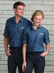 Women's Roll-Up Chambray Waitress Shirt with Pleated Pockets