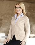 Ladies Cotton Cable Cardigan Sweater
