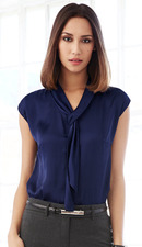 Ladies Nightclub Satin Tie Blouse