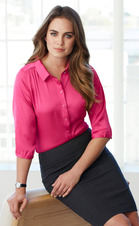 Ladies Hostess Three Quarter Sleeve Satin Blouse