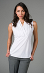 Ladies Nightclub Sleeveless Stretch V-Neck Pleated Blouse