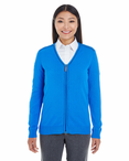 Ladies Contrast Piping Full-Zip Sweater