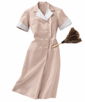 Ladies Pincord Housekeeping Double Breasted Lapel Dress