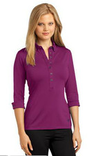 Ladies Server Three Quarter Cuffed Sleeve Stretch Moisture Wicking Polo Shirt