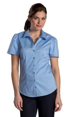 Ladies Front Desk Open Neck Short Sleeve Blouse
