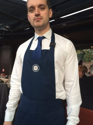 French Inset Tie Bib Apron with Three Pockets (Minimum order is 40 aprons)