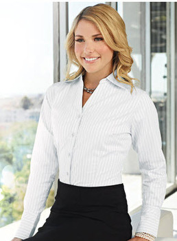 Ladies Fitted Non-Iron Blouse: SharperUniforms.com