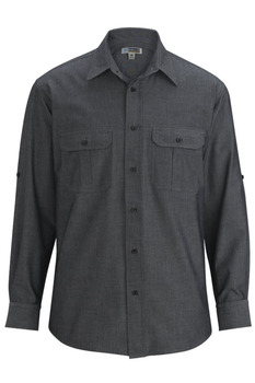 b04e6477 Men's Roll-Up Chambray Waiter Shirt - Server Shirts