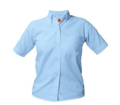 19ef98a0d25640 Girls' Button Down Collar Short Sleeve Oxford School Uniform Blouses