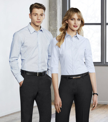 02e4a83c7 Ladies Hotel Cotton Rich Spandex Stripe 3/4 Sleeve Blouse