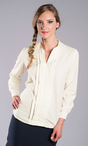 Ladies Hostess V-Neck Pleated Blouse