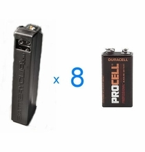 "Battery Clip 9V Dispenser <font color=""red"">LOADED</font color> with (8) Duracell Procel 9V Batteries"