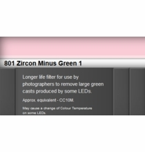 Zircon 801 Minus Green 1 LED Lighting Gel Sheet
