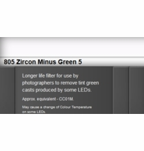 Zircon 805 Minus Green 5 LED Lighting Gel Sheet