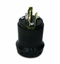 Twist Lock Male Plug Black, 20A / 125V, NEMA, L5-20, Cable Mount